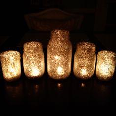 DIY glitter starry night candles decoration decor wedding reception (201) Bride magazine                                                                                                                                                      Más