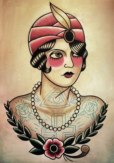 Gypsie Flapper Traditional Tattoo Flash by ParlorTattooPrints