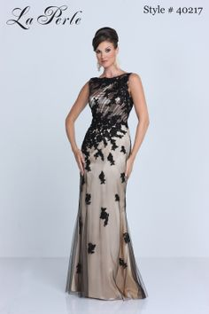 La Perle style # 40217 ~ black and champagne lace and tulle bateau neckline sleeveless dress for mother of the bride, mother of the groom, or wedding guest #dress #gown