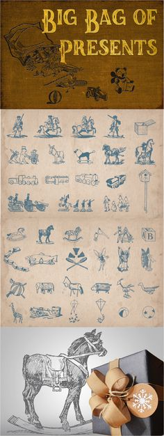 114 vintage toys vector pack. In this bag you will find dolls, rocking horses, cars, trains , houses, tin soldiers, boats, kites and much more.