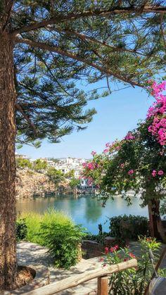 Beautiful lake at Agios Nikolaos, Crete