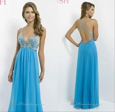 Hot Selling Sexy Shining Prom Dresses Floor Length Crystal V-Neck Spaghetti Strap Sleeveless Chiffon Prom Dresses Cheap Dresses