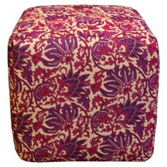 Check out this item at One Kings Lane! Wren Pouf, Purple/Multi