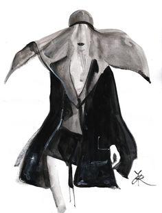 reginayazdi:  Fashion sketch for Ann Demeulemeester s/s 14 collection