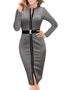 Long Sleeve Plaid Zipper Sheath Dress