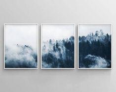 Set of 3 Indigo Forest Printable, 3 Piece Forest Print, Minimalist Poster, Misty Forest, Modern Indigo Print, Navy Blue Wall Art, Woodland