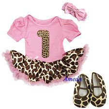 Newborn Baby Pink Giraffe Print Pettiskirt Tutu Brown Top Giraffe Rose Set 3-12M