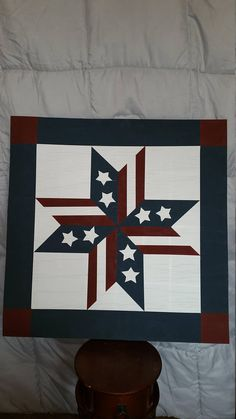 Handpainted stars and stripes, Americana barn quilt. Approx The back is painted white. Exterior Paint - at least 3 coats of each color. Hardware is not included. For exterior or interior use. Barn Quilt Designs, Barn Quilt Patterns, Wood Patterns, Primitive Snowmen, Primitive Crafts, Primitive Christmas, Country Christmas, Christmas Christmas, Rustic Wood Crafts