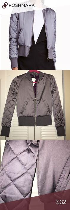 Bomber Jacket H&M short bomber jacket with diamond sleeves. Brand new, purple gray color H&M Jackets & Coats