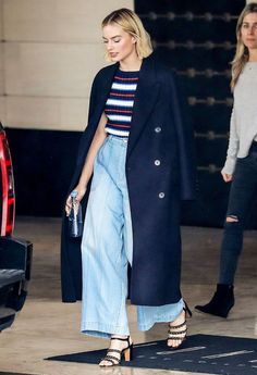 Margot Robbie, Australian actress, chanel coat, trench coat, navy blue coat, stripes, mom jeans, washed denim, denim jeans, chanel shoes, chanel top, chanel, wide leg pants, celebrity style, street style, off duty style, outfit ideas,