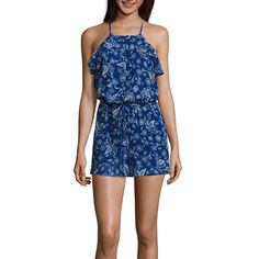 FREE SHIPPING AVAILABLE! Buy Belle + Sky Ruffle Front Halter Romper at JCPenney.com today and enjoy great savings.