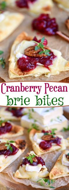 These Cranberry Pecan Brie Bites are perfect for holiday entertaining! Whether you make them for Thanksgiving, Christmas, or New Year's, no one will be able to resist the gooey melted brie, tart cranberry sauce, and toasted pecan atop a piece of naan! Easy and fabulous - just what holiday entertaining should be! // Mom On Timeout