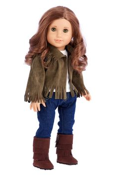This stylish outfit includes siege faux suede jacket, white tank top, blue skinny jeans and brown suede boots. Perfect outfit for fall or just cool evening stroll.    Doll outfit contains a wide back closure for easy dressing and clothing removal. Our doll clothes fits 18 inch American Girl dolls. Designed in the USA and sold Exclusively by DreamWorld Collections. DOLL(S) NOT INCLUDED U.S. CPSIA CHILDREN'S PRODUCTS SAFETY CERTIFIED