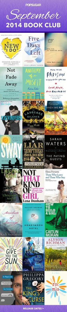The best new books out September 2014. #fallreading #fallbooks