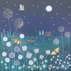 Cards & Stationery Midnight Meadow Square Blank Greeting Card By Artist Jo Grundy Range Art Car & Garden Illustrations, Illustration Art, Image Bleu, Guache, Naive Art, Mixed Media Canvas, Whimsical Art, Painting Inspiration, Les Oeuvres