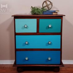 This hand-made dresser is an antique but needed some repairs that led to the drawer fronts needing to be painted. Using #dixiebellepaint teal colors each drawer has its own pop of color. The wood was treated with Refishing stain and conditioner to bring back it's aged glow. Chalk Paint Dresser, Painted Dressers, Chalk Paint Furniture, Furniture Design, Painted Furniture For Sale, Antique Buffet, Dixie Belle Paint, Vintage Vanity, Drawer Fronts