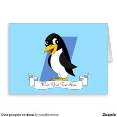 Cute penguin cartoon stationery note card
