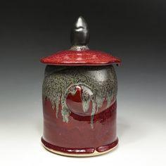 Andy Palmer, red lidded jar, In Tandem Gallery www.intandemgallery.com