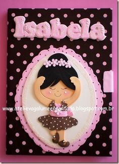 Several really cute little bookcovers done in fun foam of whimsical little girls NO PATTERN/NOT IN ENGLISH