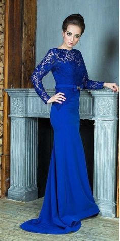 959d43ed64 Royal Blue Long Sleeves Lace Evening Dresses Elegant Bateau Backless  Mermaid Evening Gowns Floor Length Simple Of The