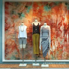 """As summer heats up, our stores are keeping things cool with an array of ice-dyed displays, each individually crafted on-site. """"This window concept was so refreshing,""""says Amy, one of our talented display artists. """"I loved being able to take myself out ofthe process for a moment to let the dye naturally form into its own …"""