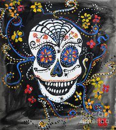Skull Flowers  - Acrylic on Paper by Ismeta Gruenwald