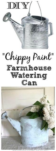 Love the farmhouse look? Turn any watering can into a chippy paint farmhouse look with this painting tutorial. Perfect fixer upper style home décor item. Great for holding flowers or in your garden.