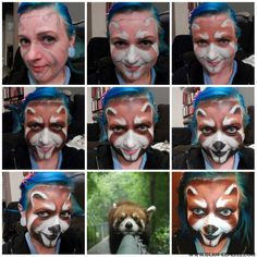 I hope you enjoy this red panda face painting tutorial. PICTORIAL: TUTORIAL: Step I did an outline in gray to get the shapes down. Panda Face Painting, Mime Face Paint, Face Painting Tips, Face Painting Tutorials, Face Painting Designs, Woman Painting, Body Painting, Red Panda Tattoo, Panda Makeup