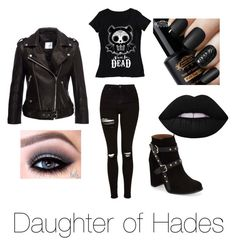 """Daughter of Hades outfit"" by cheetahloverlol on Polyvore featuring Topshop and Lime Crime"