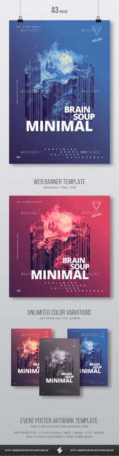 Brain Soup  Minimal Party Flyer / Poster Artwork Template A3 — Photoshop PSD #music #11.7x16.5 • Available here ➝ https://graphicriver.net/item/brain-soup-minimal-party-flyer-poster-artwork-template-a3/20921417?ref=pxcr