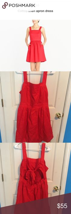 J. Crew cotton linen apron dress J Crew apron dress. Two front pockets with tie open back. Size large. Brand new with tags. Beautiful red orange color. Perfect summer dress. Smoke free home. J. Crew Dresses Midi