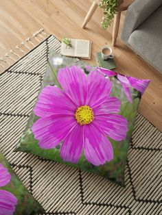 'Winter Cosmos Flower in Pink Floor Pillow by ellenhenry Floral Cushions, Flower Tattoo Designs, Carnations, Hibiscus, Floor Pillows, Cosmos, Daisy, Pillow Covers, Sweet Home