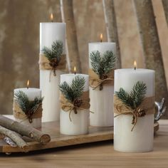 Siberian Fir Fragranced Pillar Candles The Effective Pictures We Offer You About DIY Candles no wax A quality picture can tell you many things. You can find the mo Christmas Decorations For The Home, Farmhouse Christmas Decor, Christmas Candles, Xmas Decorations, Christmas Centerpieces With Candles, Centerpiece Ideas, Diy Candle Centerpieces, Christmas Table Centerpieces, Decoration Table
