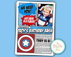 Avengers Invitation With photo Birthday Party by thepattycakepress