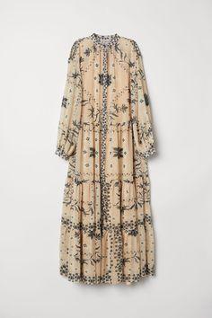 3ef2eec784d1 Crinkled Long Dress - Powder beige/patterned - | H&M US 5 Ascot Dresses,