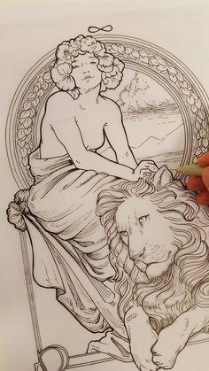 Tatuagem Art Nouveau, Art Nouveau Tattoo, Art Sketches, Art Drawings, Art Nouveau Illustration, Coloring Book Art, Art Nouveau Design, Classical Art, Art Inspo