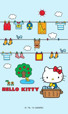 HK Fine Day app. Sanrio Wallpaper, Hello Kitty Wallpaper, Kawaii Wallpaper, Wallpaper Stickers, Hello Kitty Pictures, Kitty Images, Sanrio Danshi, Hello Kitty Tattoos, Hello Kitty Birthday