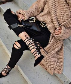 laced up pointed heels. black + beige. knit.