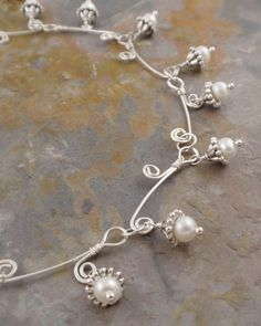 Delicate Fresh Water Pearls on wirework