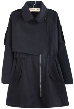 Black Lapel Long Sleeve Pockets Tweed Coat US$60.74