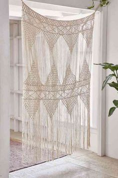 rideau en macramé pour décoration naturelle, bohème et exotique