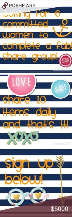 New Share Group Looking for SIX committed women to share ten items daily. Anytime of the day as long as you've shared ten!! Compliant closets only! Come and join! Fab Share Group Bags