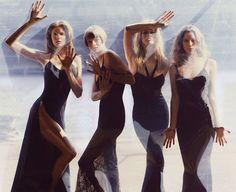 Models: Stephanie Seymour, Linda Evangelista, Claudia Schiffer & Christy Turlington