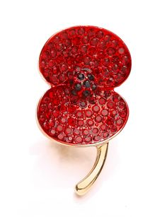 Created by Buckley London, this poppy brooch is plated with a gold tone and hand crafted with over 100 ruby and jet crystals. Kate has worn this brooch for Remembrance Sunday, November 10, 2013 and to the Annual Festival of Remembrance at Royal Albert Hall, November 7, 2015.