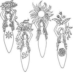 Pagan Gods and Goddesses Coloring Pages Colouring Pages, Adult Coloring Pages, Coloring Books, Tattoo Feminin, Sketch Note, Wiccan Crafts, Wiccan Art, Nature Tattoos, Book Of Shadows