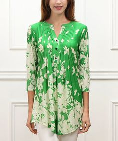 Green & White Floral Notch Neck Tunic