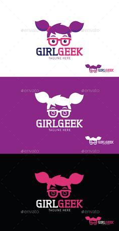 Girl Geek Logo Template: Abstract Logo Design Template created by Letterhead Template, Logo Design Template, Brochure Template, Logo Templates, Business Cartoons, Learning Logo, Logo Face, Abstract Logo, Logo Restaurant