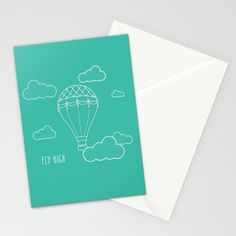 Buy Fly High Hot Air Balloon Stationery Card by Demetria Rose.