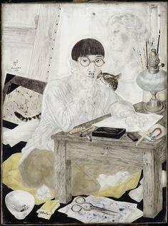 Leonard Tsuguharu Foujita (Japanese-French, 1886 - Portrait of the artist, 1926 Oil and ink on canvas Musée des Beaux-Arts de Lyon, France Art And Illustration, Illustrations, Art Asiatique, Magic Realism, Art Japonais, Digital Museum, Ouvrages D'art, Collaborative Art, Art Database