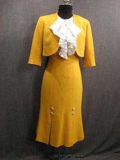1930s yellow crepe suit.